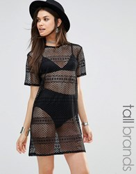 Missguided Tall Burnout Mesh Overlay T Shirt Dress Black
