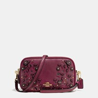 Coach Willow Floral Crossbody Clutch In Pebble Leather Light Gold Burgundy