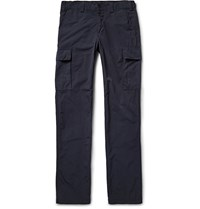 Aspesi Slim Fit Garment Dyed Matte Shell Cargo Trousers Blue