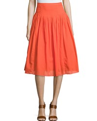 Neiman Marcus Pleated Cotton A Line Skirt Orange