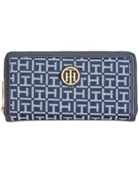 Tommy Hilfiger Jacquard Large Zip Around Wallet Blue