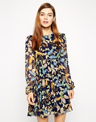 Asos Swing Dress In Butterfly Print With Long Sleeves