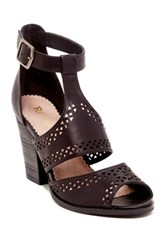 Restricted Wait Up Laser Cut Heeled Sandal Black