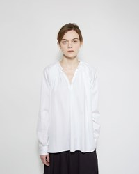 Comme Des Garcons Collarless Poplin Shirt White
