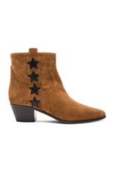 Saint Laurent Rock Suede And Leather Boots In Brown