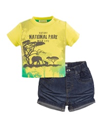 Petit Lem Mighty Jungle Graphic Tee And Shorts Set Yellow