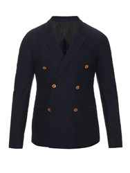 Gucci Double Breasted Cotton Drill Blazer Navy
