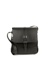 John Varvatos Leather Trimmed Nylon Crossbody Black