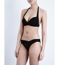 Jets By Jessika Allen Twist Front Halterneck Bikini Top Black