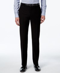 Calvin Klein Men's Slim Fit Black Herringbone Dress Pants