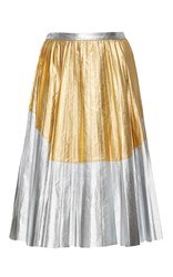 N 21 No. Metallic Leather Pleated Skirt Silver