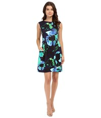 Vince Camuto Printed Scuba Extended Cap Sleeve Fit And Flare With Release Pleats Navy Women's Dress