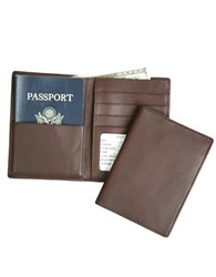 Royce Handcrafted Rfid Blocking Bi Fold Passport Currency Travel Wallet Brown