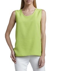 Caroline Rose Shantung Longer Cut Tank Lime