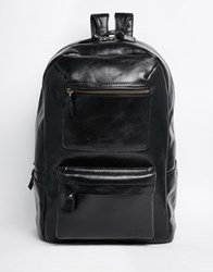 Royal Republiq Leather Track Backpack In Black Black