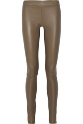 The Row Moto Stretch Leather Leggings Mushroom