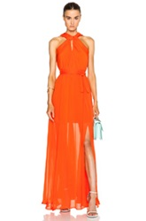 Msgm Halter Neck Gown In Orange