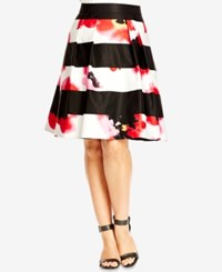 City Chic Plus Size Mixed Print Fit And Flare Skirt Black
