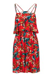 Topshop Petite Floral Overlay Dress Red