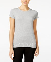 Calvin Klein Rhinestone Logo T Shirt Light Grey Heather Blk