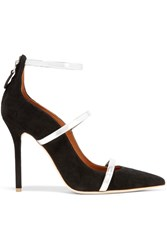 Malone Souliers Metallic Leather Trimmed Suede Pumps Black