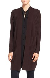 Eileen Fisher Women's Rib Knit Wool Open Front Long Cardigan Clove