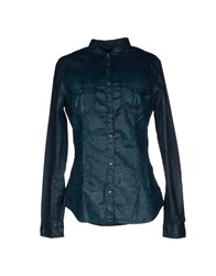 We Are Replay Denim Denim Shirts Women Dark Green