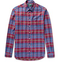 Gitman Brothers Vintage Button Down Collar Checked Cotton Shirt Red