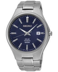 Seiko Men's Solar Silver Tone Titanium Bracelet Watch 40Mm Sne381