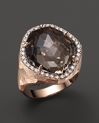 Vianna Brasil 18K Rose Gold Ring With Smoky Quartz And Diamond Accents