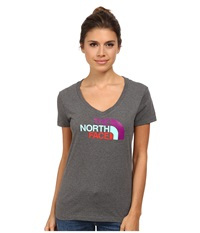 The North Face S S Half Dome V Neck Tee Charcoal Grey Heather Magic Magenta Multi Women's T Shirt Gray