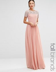 Maya Tall Pleated Maxi Dress With Pearl Embellishment Dusty Pink