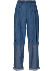 Raquel Allegra Panelled Chambray Trousers Blue