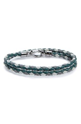 Tod's Tritone Double Wrap Braided Leather Bracelet Green Multi