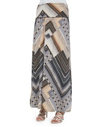 Neiman Marcus Printed Fold Over Maxi Skirt Taupe Multi