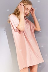 Silence And Noise Shimmer Knit Mini Dolman T Shirt Dress Rose