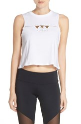 Women's Onzie Graphic Cotton Crop Tank White Namaste