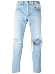 People People Ripped Straight Jeans Blue