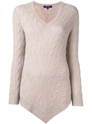 Ralph Lauren Purple Cable Knit Pullover Nude And Neutrals