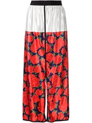 Maison Rabih Kayrouz Rose Print Skirt Red