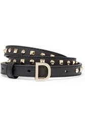 Dkny Studded Textured Leather Belt Black