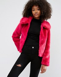 Asos Faux Fur Cropped Jacket Pink