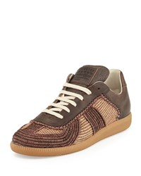 Maison Martin Margiela Marrakech Raffia And Leather Low Top Sneaker Camel