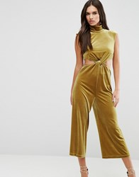 Asos Jumpsuit With Cut Out Detail In Velvet Mustard Yellow