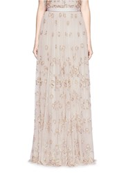 Needle And Thread Floral Embellished Tulle Maxi Skirt Neutral