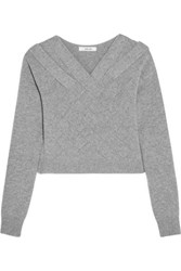 Adeam Cropped Basketweave Cashmere Sweater Gray