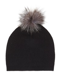 Neiman Marcus Fur Pompom Knit Hat Black