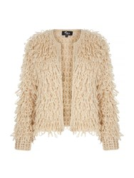 Mela Loves London Chunky Loop Knit Cardigan Beige
