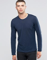 Sisley Crew Neck Long Sleeve Top In Slub Fabric Navy 275