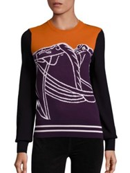 Tory Burch Relaxed Colorblock Sweater Royal Plum Multi